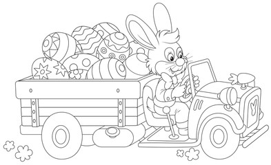 Easter bunny rides a truck with Easter eggs