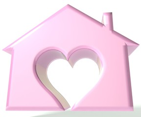 Pink House Heart 3D image