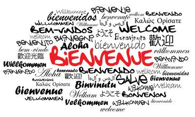 Message de Bienvenue international nuage de mots illustration