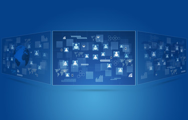 Technology Concept Blue Background