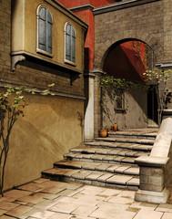 Schody na ulicy starego miasta