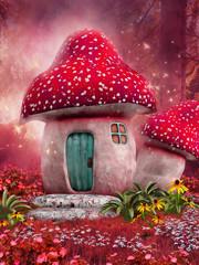 Obraz Zaczarowany różowy domek z grzyba - fototapety do salonu