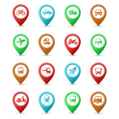 Map pins with Transport icons
