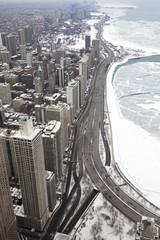 Chicago city lake Michigan shoreline in a winter