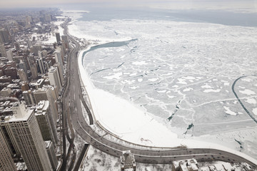 Chicago city lake Michigan shoreline in a winter