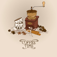 Illustration with vintage coffee grinder and cups