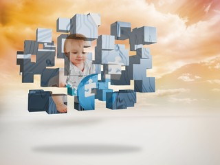 Composite image of baby genius on abstract screen