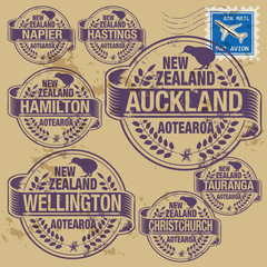 Grunge stamp set with names of New Zealand cities