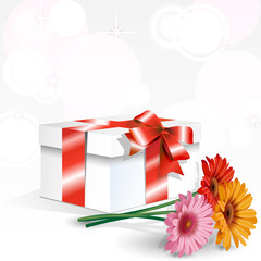 gift with colored bouquet of daisies