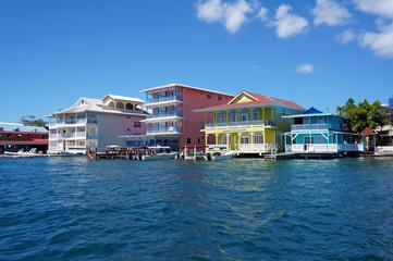 Foto auf Acrylglas Karibik Colorful Caribbean buildings over the water