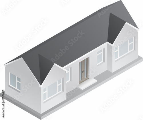3d Isometric Drawing Of A Single Story House Or Bungalow