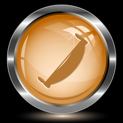 Two-handled saw. Internet button. Vector illustration.