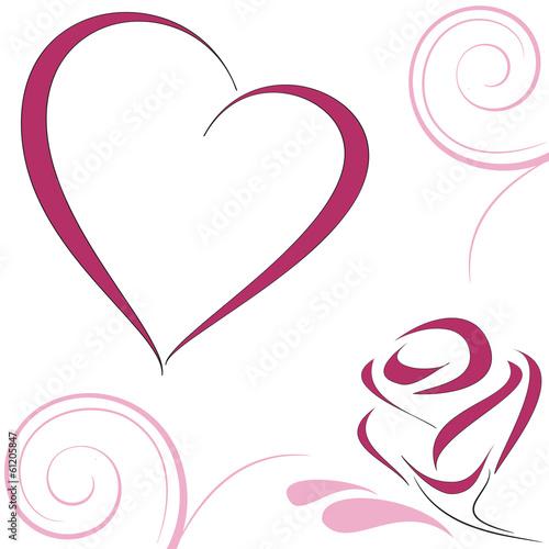Cuore e rosa stilizzati immagini e vettoriali royalty for Immagini vector