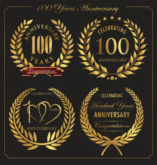 Anniversary golden laurel wreath, 10 years