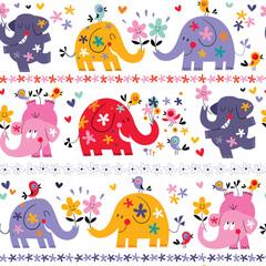 modèle sans couture d& 39 éléphants mignons