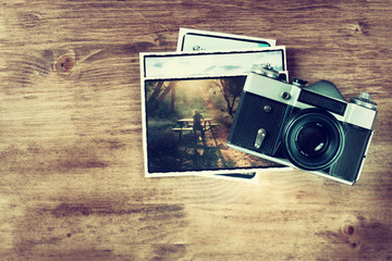 top view of old vintage camera and pictures  vintage effect proc