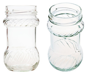 set of decorated glass jar isolated on white