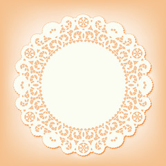 Lace Doily Place Mat, vintage pattern, copy space. pastel coral