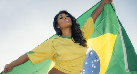 Fototapete - Brazil soccer football fan
