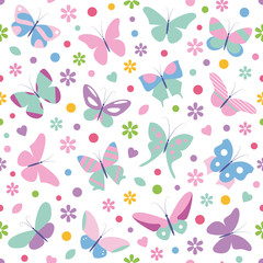 butterflies flowers hearts and dots pattern