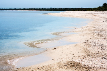 Deserted tropical beach at Cuba, National Reserve Guanahacabibes