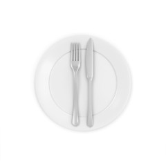 White Plate with Fork and Knife isolated on white background