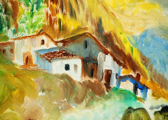 landscape in mountains pyrenees, painting, illustration