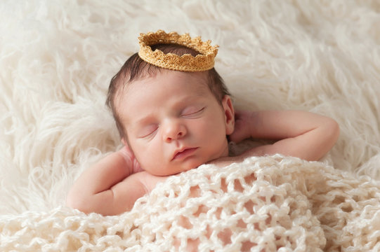 Newborn Baby with Prince's Crown