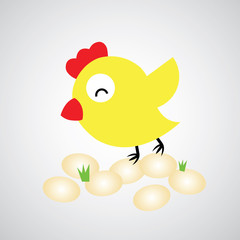 Cartoon hen with eggs