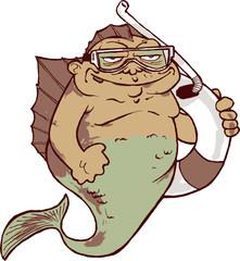 Funny Fat Mermaid Cartoon