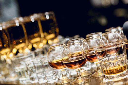 Spirits in brandy snifters