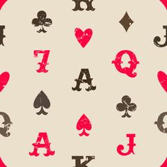 Vintage playing cards seamless pattern