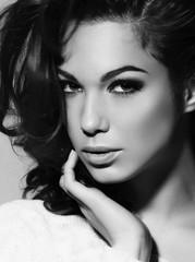 Beauty portrait of beautiful brunette girl, closeup