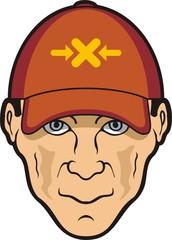 Man head and baseball cap