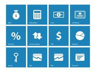Economy icons on blue background.