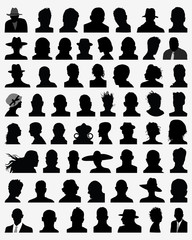 Big set of silhouettes of heads, vector illustration