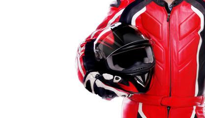 Closeup picture of a biker holding his helmet