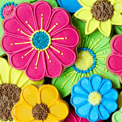 Wall Mural - Colorful cookie background