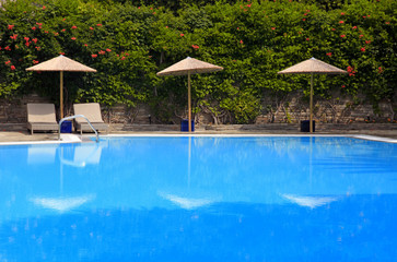 swimming pool at summer resort, Greece