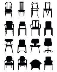 Black silhouettes of different chairs, vector illustration