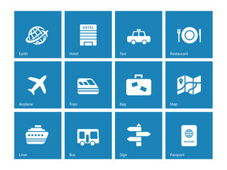 Travel icons on blue background.