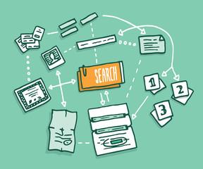 Data search algorithm gathering digital information