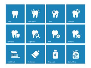 Dental icons on blue background.