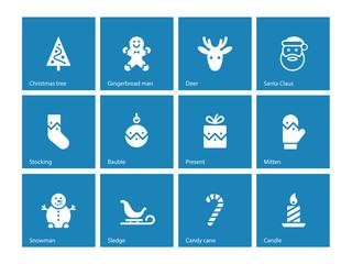 Christmas icons on blue background.