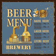 menu with brewery and men in barrel