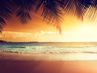 Printed roller blinds Beach sunset on the beach of caribbean sea