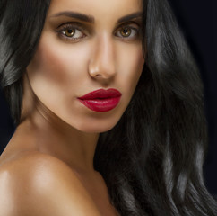 Beauty Woman With Long Black Hair. Hairstyle. Beautiful Model
