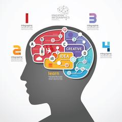infographic Template brain social line link concept vector illus