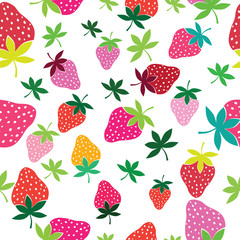 Seamless vector strawberry pattern