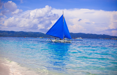 Blue Boats on Boracay island in the sea, Philippines